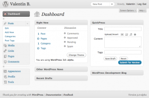 Tableau de bord - WordPress 3.0