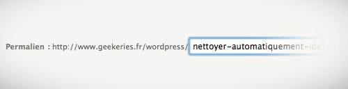 Nettoyer automatiquement l'identifiant des liens (slug) !