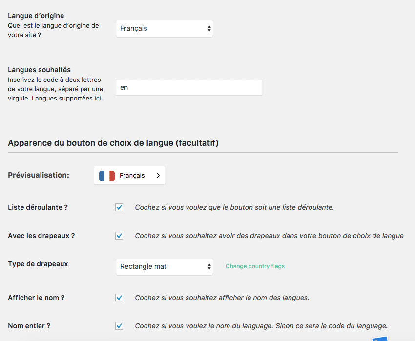WeGlot Options WordPress