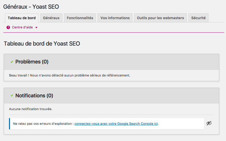 Tableau de bord - WordPress SEO by YOAST