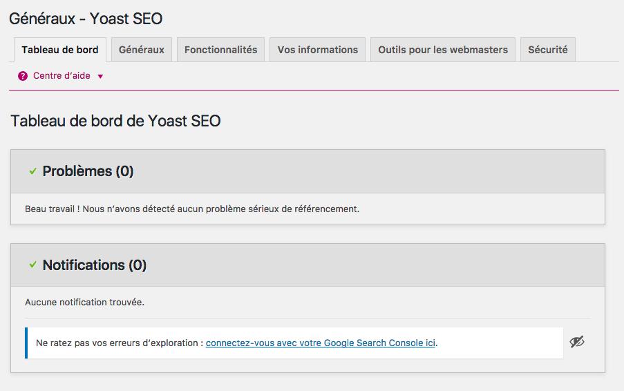 Tableau de bord - WordPress SEO by YOAST