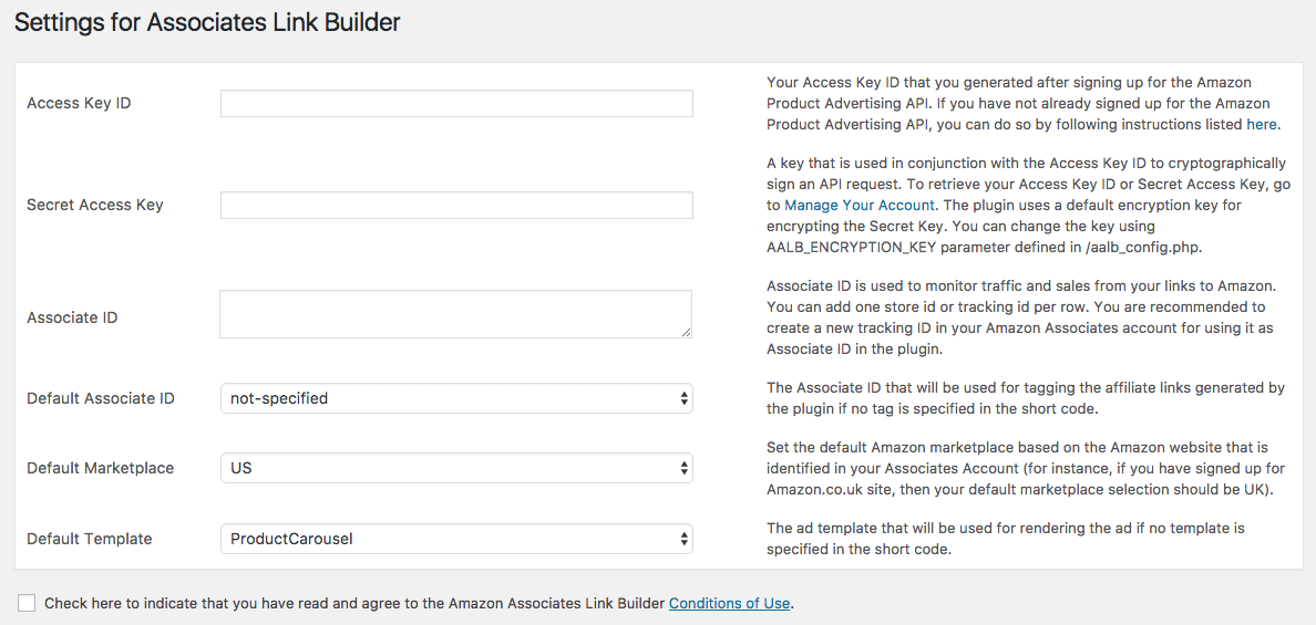 Settings for Associates Link Builder