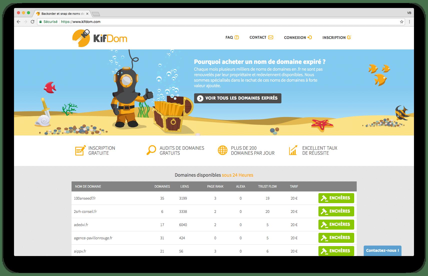 KifDom - Backorder et snap de noms de domaines expirés .fr