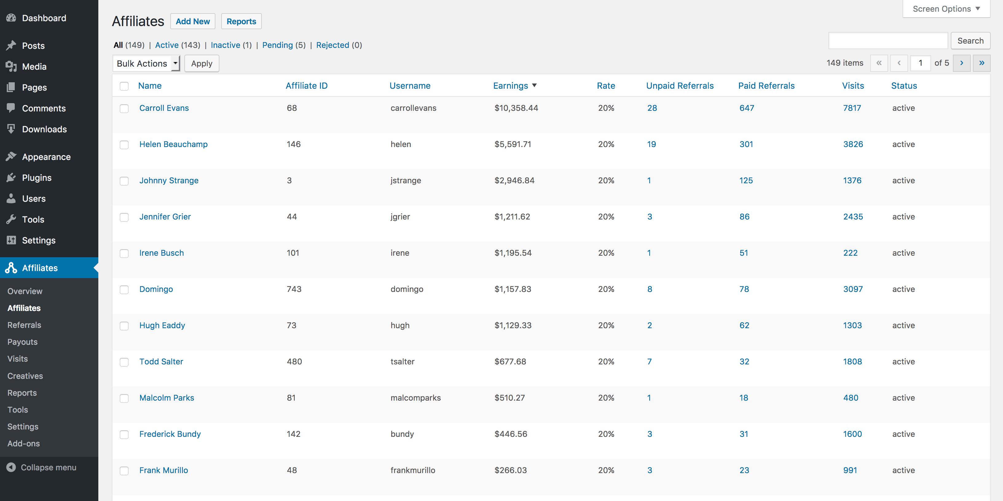 AffiliateWP WordPress - Affiliates